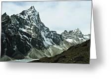 North Face Of Cholatse Peak Towers Greeting Card