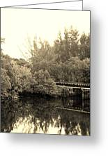 North Fork River In Sepia Greeting Card