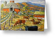 Nostalgia Cows Painting By Prankearts Greeting Card
