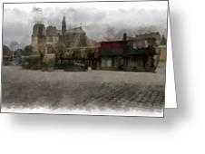Notre Dame 1 Aquarell  Greeting Card