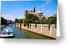Notre Dame Cathedral Along The Seine River Greeting Card