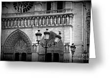 Notre Dame With Luminaires Greeting Card