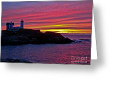 Nubble Lighthouse Greeting Card by Scott Moore