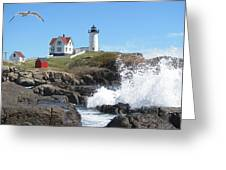 Nubble Lighthouse With Seagull And Ocean Spray Greeting Card