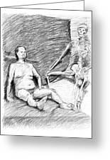 Nude Man With Skeleton Greeting Card