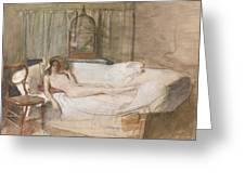 Nude On A Sofa Greeting Card