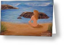 Nude Woman On Beach Greeting Card