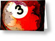 Number 3 Billiards Ball Greeting Card by David G Paul