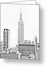 Ny Skyline - Black And White Greeting Card