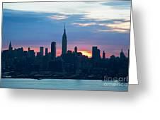 Ny Skyline Blue Dawn Greeting Card