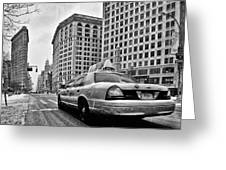 Nyc Cab And Flat Iron Building Black And White Greeting Card