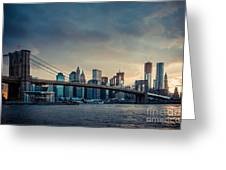 Nyc Skyline In The Sunset V1 Greeting Card