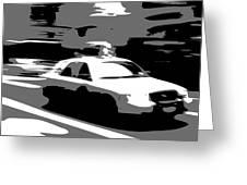 Nyc Taxi Bw3 Greeting Card