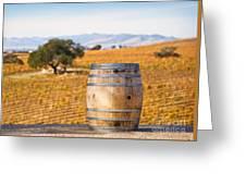 Oak Barrel At Vineyard Greeting Card