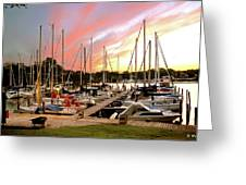 Oak Pt Harbor At Sunset Greeting Card