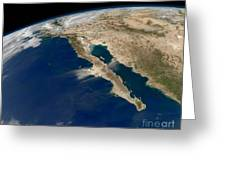 Oblique View Of Baja California Greeting Card