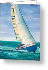 'obsession' Racing On The Atlantic Greeting Card