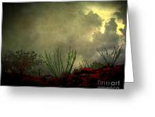Occotillo And Desert Storm Greeting Card
