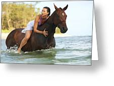 Ocean Horseback Rider Greeting Card