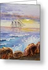 Ocean Waves And Sailing Ship Greeting Card