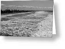 Oceanside In Black And White Greeting Card