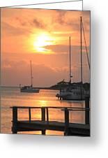 Ocracoke Island Harbor Sunset Greeting Card
