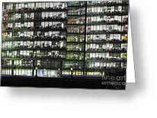 Office Buildings At More London By Night Greeting Card