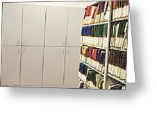 Office Cabinets And Colorful Files Greeting Card