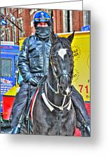 Officer And Black Horse Greeting Card