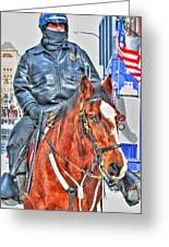 Officer On Brown Horse Greeting Card