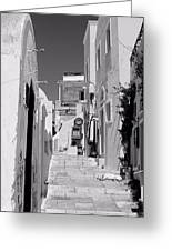 Oia Staircase Bw Greeting Card