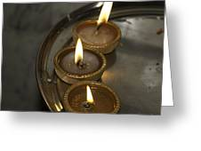 Oil Lamps Kept In A Plate As Part Of Diwali Celebrations Greeting Card