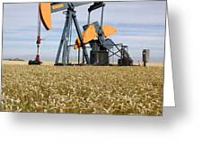 Oil Pump In A Wheat Field Greeting Card