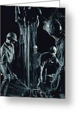 Oilmen Covered In Mud Pull Up A Drill Greeting Card