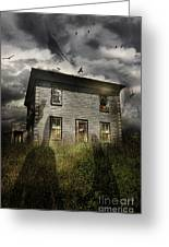 Old Ababdoned House With Flying Ghosts Greeting Card by Sandra Cunningham