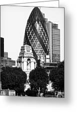 Old And New In London Greeting Card by John Rizzuto