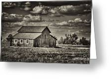 Old Barn After The Storm Black And White Greeting Card