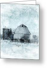 Old Barn In Winter Snow Greeting Card