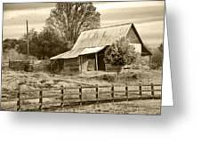 Old Barn Sepia Tint Greeting Card