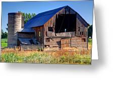 Old Barn With Concrete Grain Silo - Utah Greeting Card