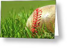 Old Baseball Glove On The Grass Greeting Card