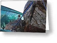 Old Boat And Flagons Greeting Card