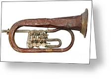 Old Broken Trumpet - Isolated Greeting Card