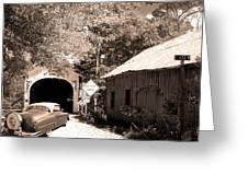 Old Car Older Barn Oldest Bridge Greeting Card