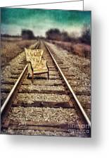 Old Chair On Railroad Tracks Greeting Card