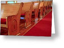 Old Church Pews Greeting Card by LeeAnn McLaneGoetz McLaneGoetzStudioLLCcom