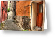 Old Colorful Rustic Alley Greeting Card