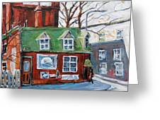 Old Corner Store Montreal By Prankearts Greeting Card