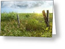 Old Country Fence On The Prairies Greeting Card