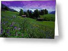 Old Couple By Mountainside Cottages Greeting Card